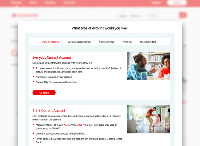 Design for Santander's site displaying different current account options in tiles