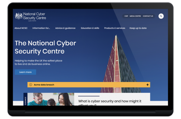 NCSC Homepage design on tablet