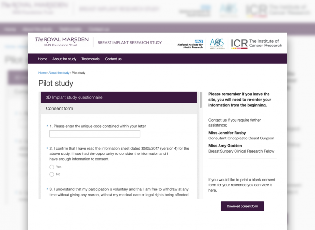 3D implant study questionnaire design for The Royal Marsden