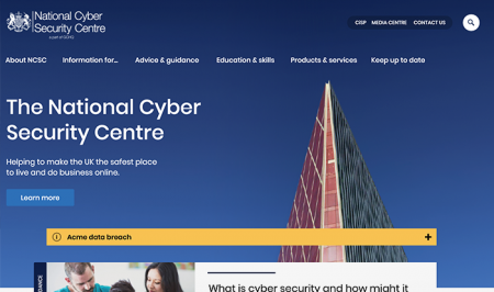 NCSC Homepage design