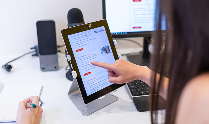 1-on-1 user testing for Santander on tablet