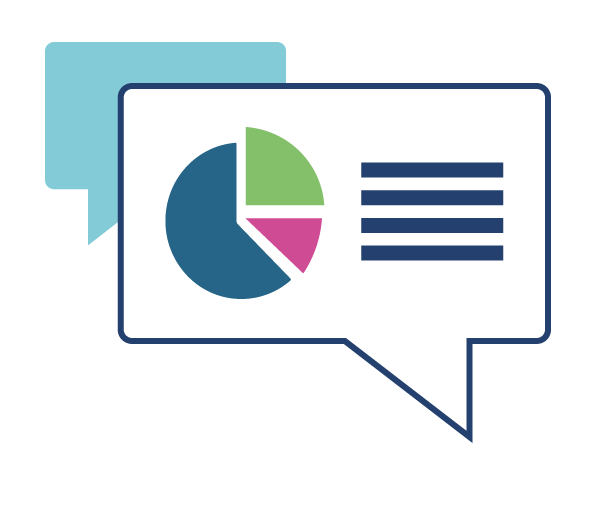 Speech bubbles with text and a pie chart