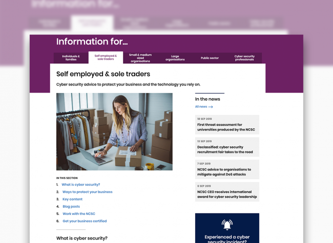 NCSC webpage showing information for self-employed & sole traders