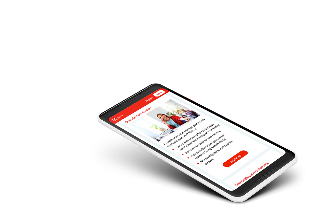 Mobile design for Santander's site displaying different current account options in tiles