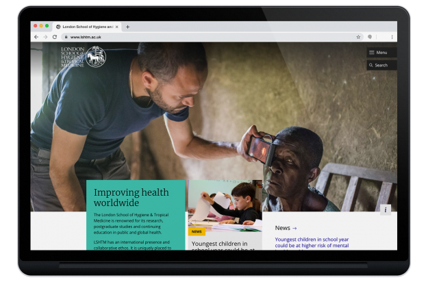 LSHTM homepage design on tablet