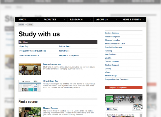 'Study with us' webpage on the old LSHTM site