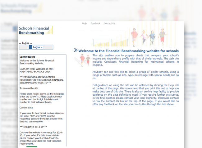 Homepage of the old schools financial benchmarking service