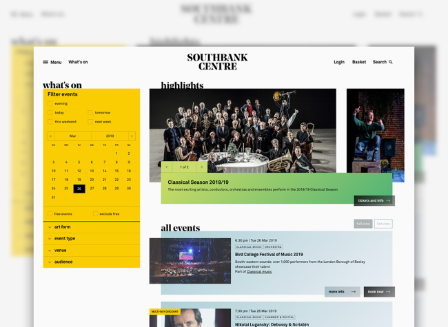 The 'What's on' landing page on Southbank Centre site showing event highlights and a list of all events