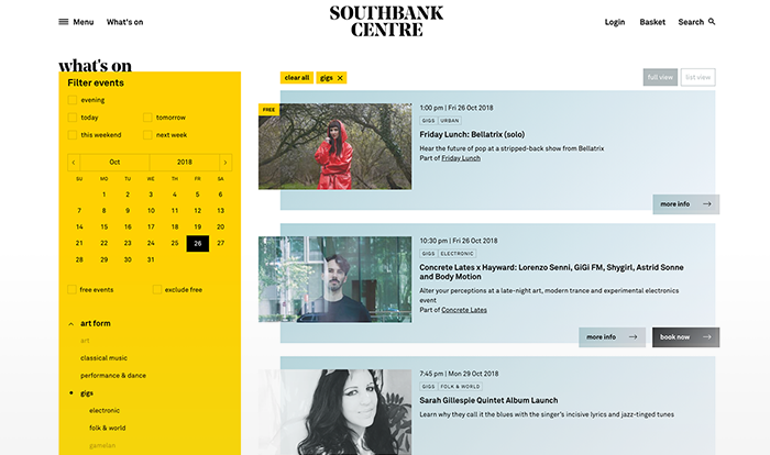 Southbank centre website showing events list