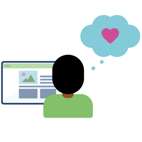 Person using a webpage with a thought bubble containing a heart