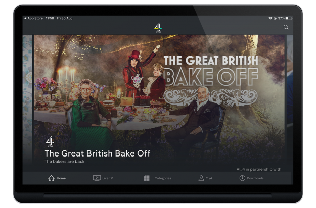 The Great British Bake Off landing page on the Channel 4 app