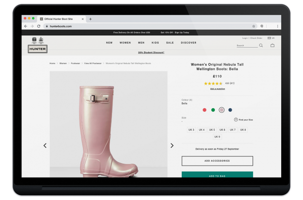 Product page for Women's Original Wellington Boots on the Hunter site