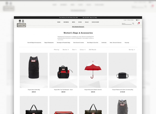 Product list page showing Women's Bags and Accessories on the Hunter site