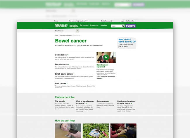 Webpage on the Macmillan site showing information and support for people affected by bowel cancer