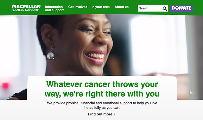 Close up of Macmillan site homepage